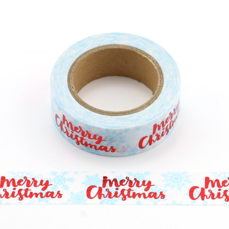 1PC 10m Decorative Christmas Foil Washi Tape Set Diy Planner Photo Album School Scrapbooking Tools Kawaii Paper Stickers Mask high quality gold foil 10m paper tape dot strip pineapple heart christmas decorative washi tape 1pcs