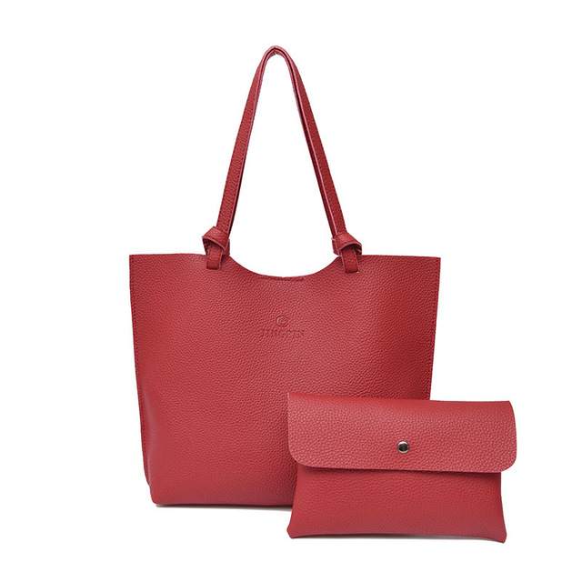 2 Pcs Sets Big Handbag New Fashion PU Leather Composite Bag Women Shoulder Bag Magnetic Hasp Big Capacity Crossbody Bag Tote Bag