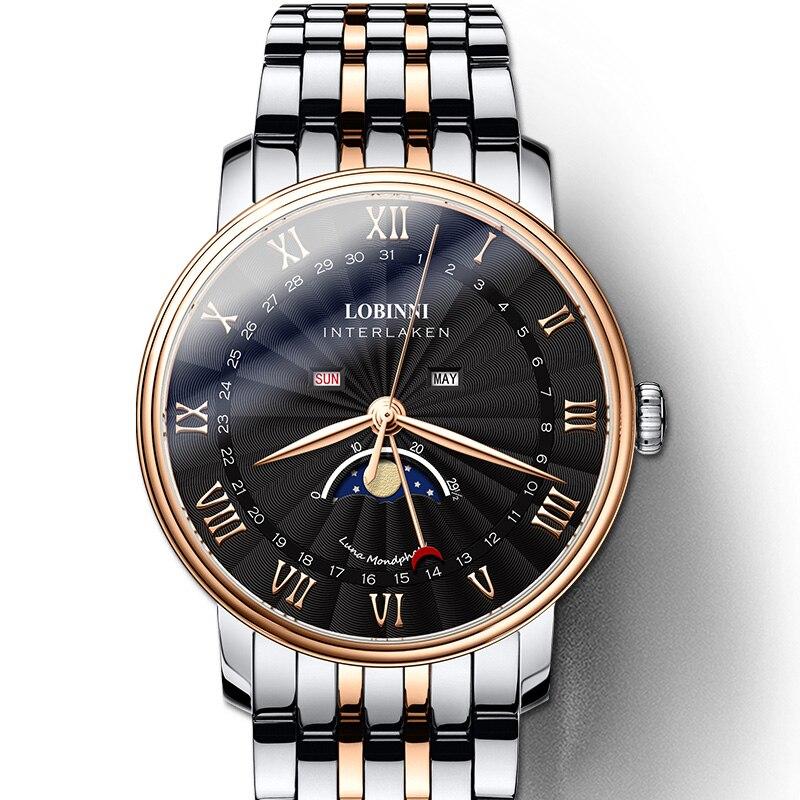 LOBINNI Relógio dos homens Marca suíça de Luxo Homens Relógio de Safira À Prova D' Água reloj hombre Japão Miyota Movimento Da Fase Da Lua L3603M8