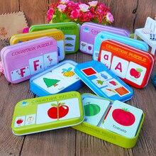 Nueva llegada juguetes para bebés niños cabeza temprana inicio entrenamiento rompecabezas tarjeta cognitiva vehículo/fruta/Animal/juego de vida par de rompecabezas bebé regalo