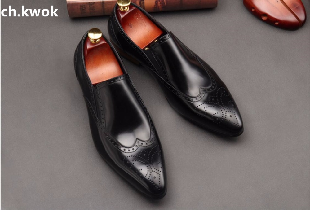 CH KWOK Carved British Gentleman Wedding Groom Suits Tuxedo Formal Shoes Leather Oxfords Black High Quality
