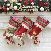New Year Christmas Stockings Socks Plaid Santa Claus Candy Gift Bag Xmas Santa Claus Snowman