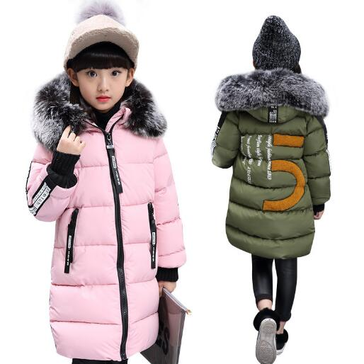 2018 New Girls Winter Cotton Jackets Children Fashion Fur Collar Coats Girl Thick Hooded Warm Outerwear kids Clothes 6 8 12 Year свитшот print bar mandala
