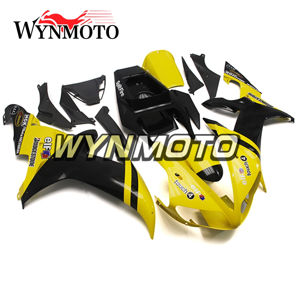 ABS Plastic Injection Yellow Black Covers New Complete Motorcycle Fairings For Yamaha YZF R1 2002 2003 Fairing Kit Cowlings
