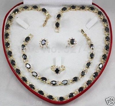 En gros hot valentines cadeau présent idées bijoux ensemble noir cristal zircon