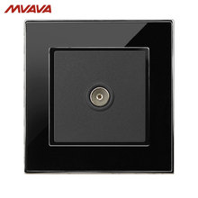 MVAVA TV Wall Decorative Receptacle Smart Television Outlet Universal Plug Luxucy Mirror Black Panel Socket Free Shipping