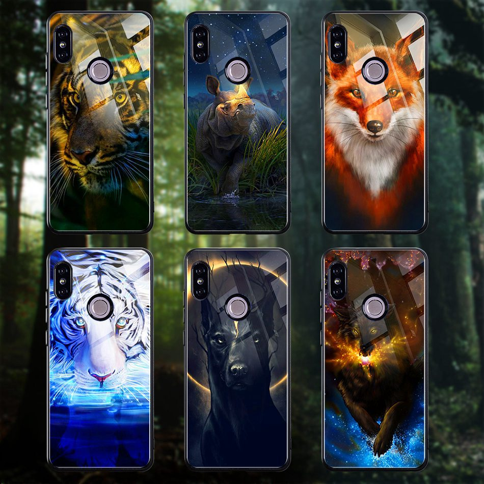 Tempered Glass Case For Xiaomi Redmi Note 5 5 Pro 5 Plus Note 4X Case Luxury Animal Pattern Case For Xiaomi Mi 8 A1 5X Coque     (16)