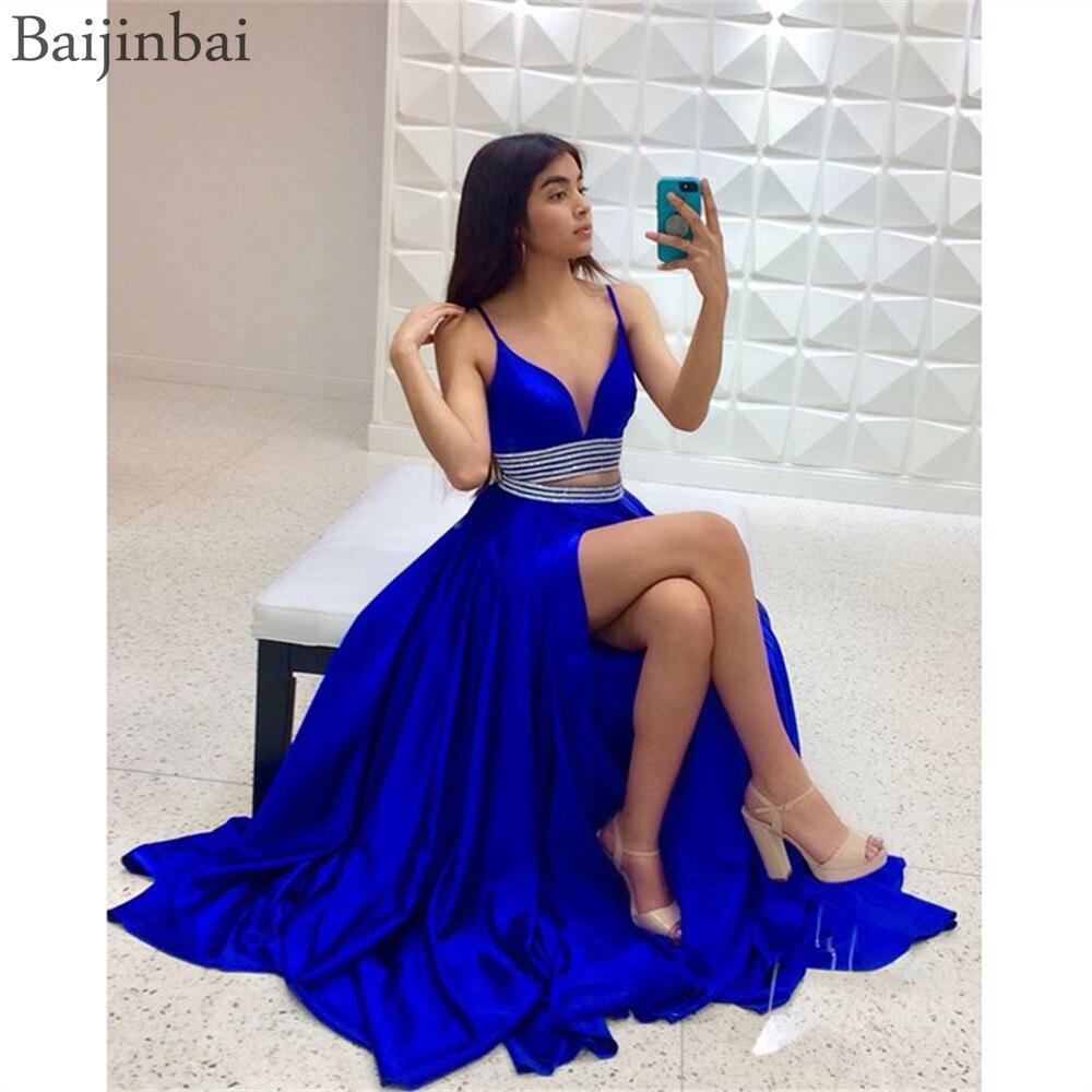 Baijinbai Satin deux pièces robes de bal avec col en V profond plissé a-ligne robes de soirée fente bijoux ceinture robe formelle
