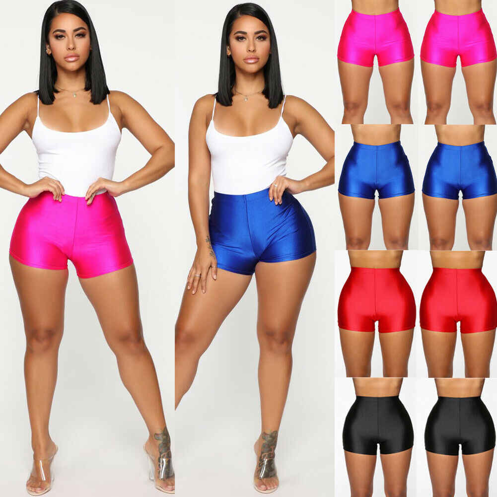 Women's Fitness Bike Shorts Soft Skinny Slim Stretchy Solid Shiny Casual Comfortable Shorts Cotton Spandex Workout Shorts