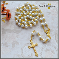 Catholic Gold Capped 8mm White Pearl Rosary Necklace Baby Communion Baptism Favor Religious Gold Cross Virgin