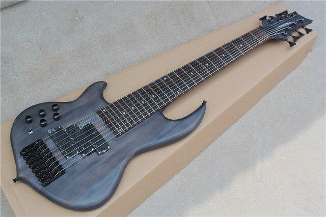 Factory Custom 24 frets 8 strings black neck thru body left handed ...
