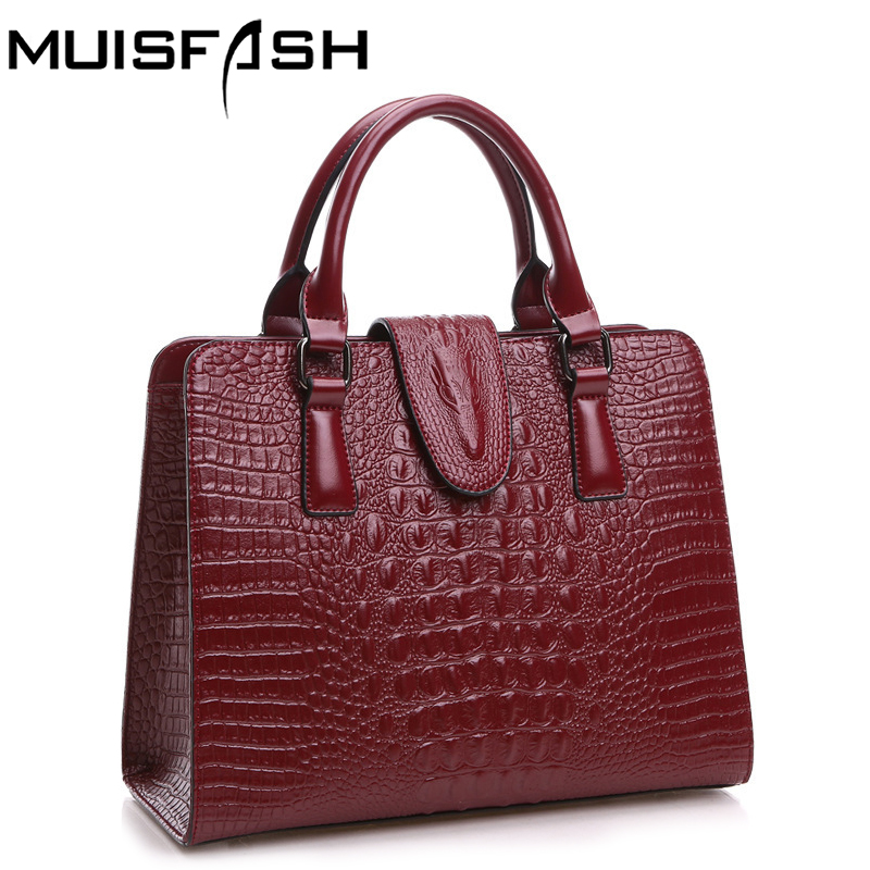 New Cow Leather Handbags Fashion Alligator Genuine Leather Bag High Quality Crocodile Women Totes Messenger Bags Bolsas LS1306 new classic women shoulder bag high quality cow leather bolsa feminina women messenger bags fashion genuine leather woman bag