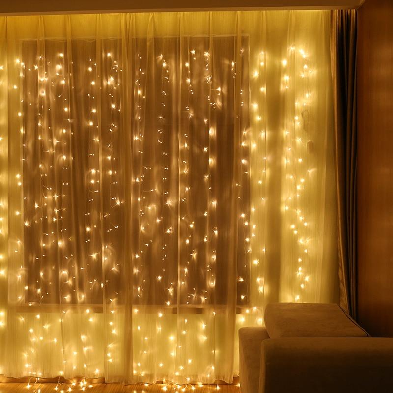 3x3m LED Curtain String Light Fairy Wedding Christmas New Year Garden Garland Indoor LED Holiday Lights Lighting Decoration