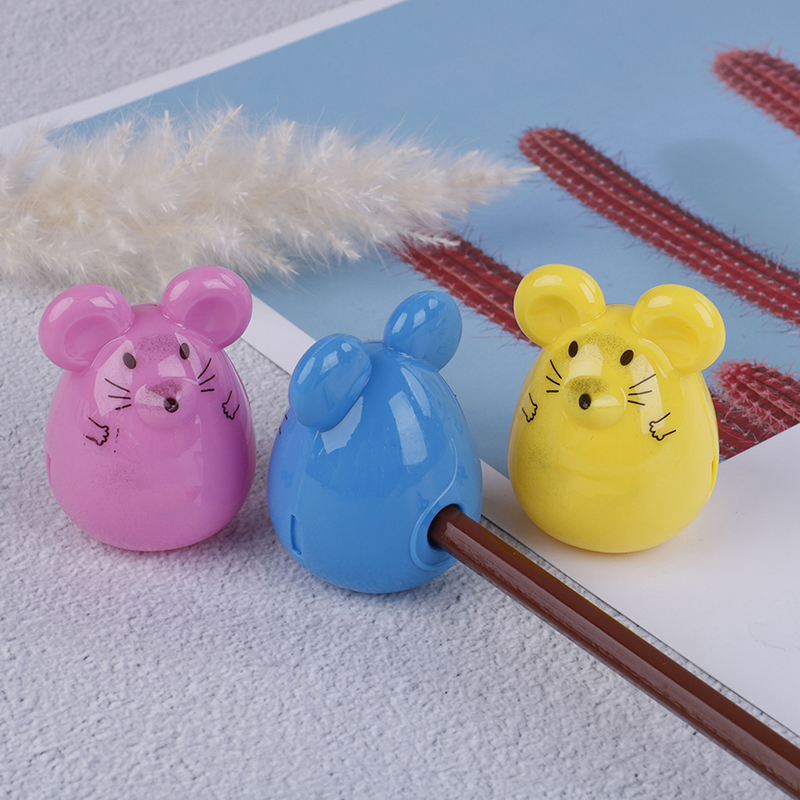2pcs Durable Kids Gifts Mouse Shape Pencil Sharpener Office School Supplies