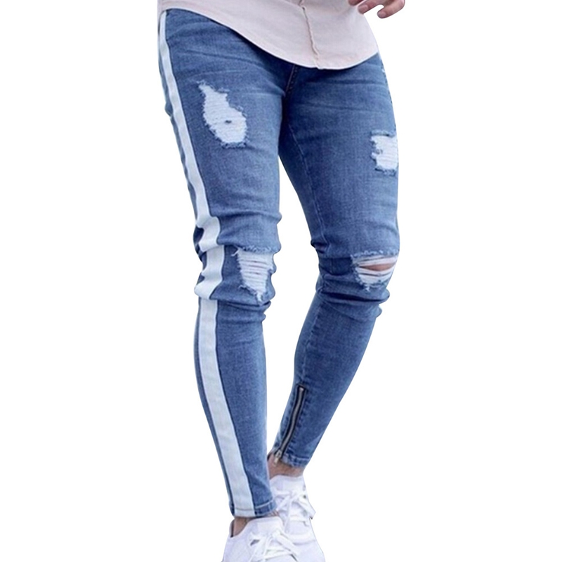 Knee Hole Side Zipper Slim Distressed Jeans Men Ripped tore up Jeans For Men stripe pants ...