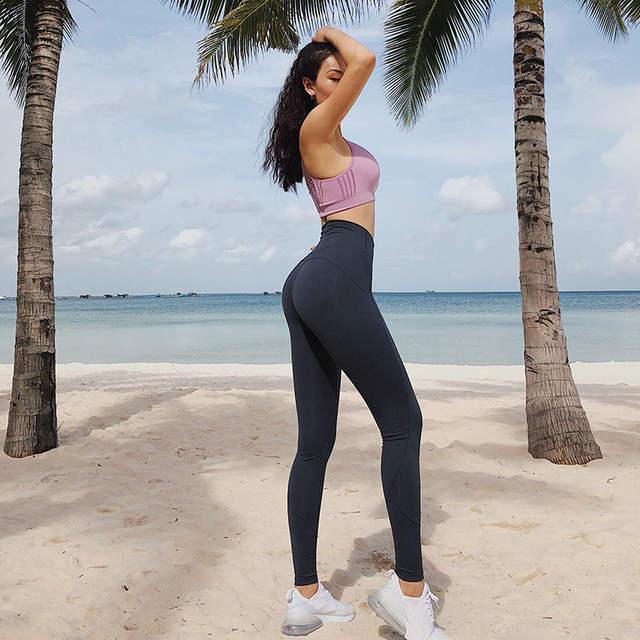 Leggins Sport Femmes Remise En Forme Sans Soudure Leggings De Yoga Pantalon  Mince de Course Pour 99fde29df4f