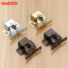 NAIERDI 2PCS Magnet Cabinet Catches Door Stop Closer Stoppers Damper Buffer With Screws For Wardrobe Hardware Furniture Fittings(China)