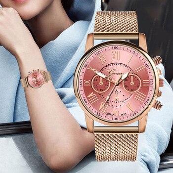 цена на Luxury Quartz Geneva Watches Women Gold Sport Military PVC Leather Wrist Dress Watch Ladies Clock Reloj Mujer