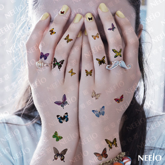 women sexy temporary tattoo butterfly pattern makeup finger ear mini hand tattoo stickers. Black Bedroom Furniture Sets. Home Design Ideas