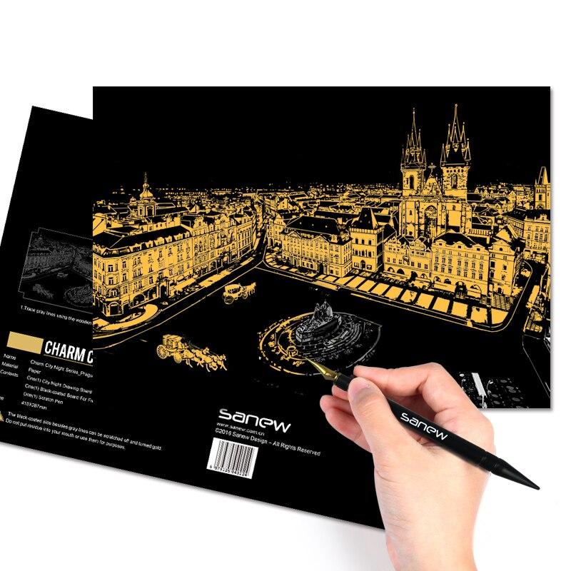 Közvetlen értékesítés a festés város éjszakai tájképe kézzel készített Diy felnőtt gyerekek oktatási játékai karcoló papír