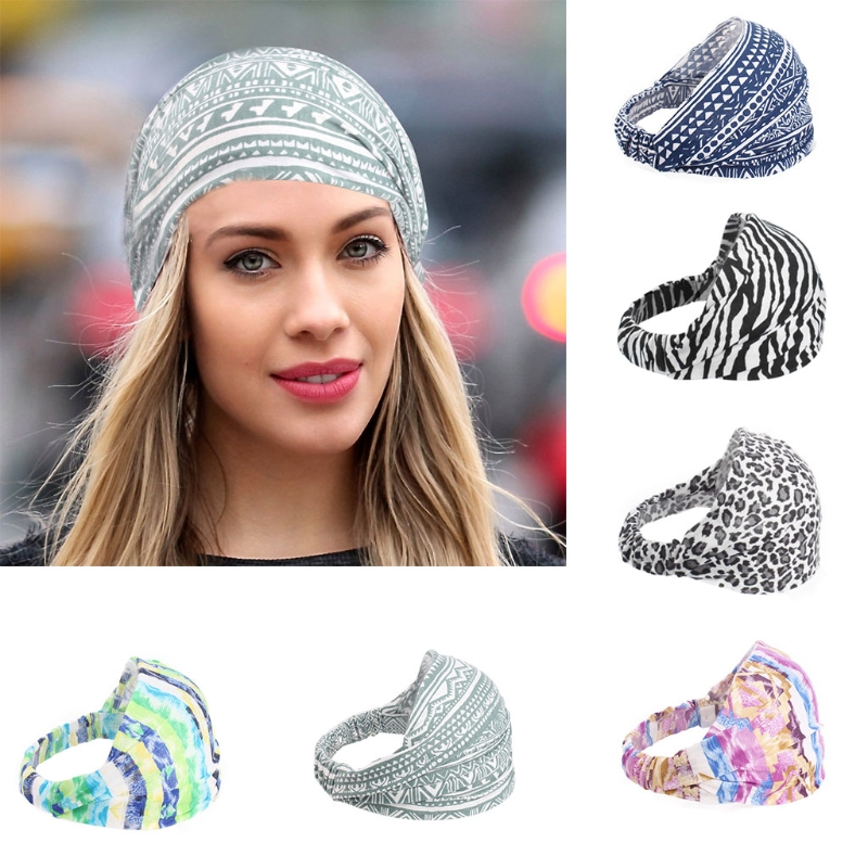 2018 Fashion New Women's Bohemian Wide Cotton Stretch Headband Girls Lady Headwear Turban Bandana Sports Yoga Hairband Hot