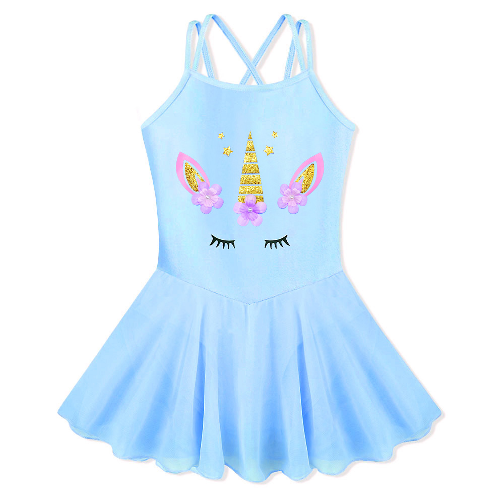 BAOHULU Blue Sleeveless Cotton Toddler Girls <font><b>Gymnastics</b></font> Leotard <font><b>Kids</b></font> Ballet Costume Girl Beaded Flower Dance Clothes image