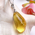Crystal Quartz Pendant For Jewelry Making Women Necklace Waterdrop Genuine Natural Yellow Crystal Pendant Bead