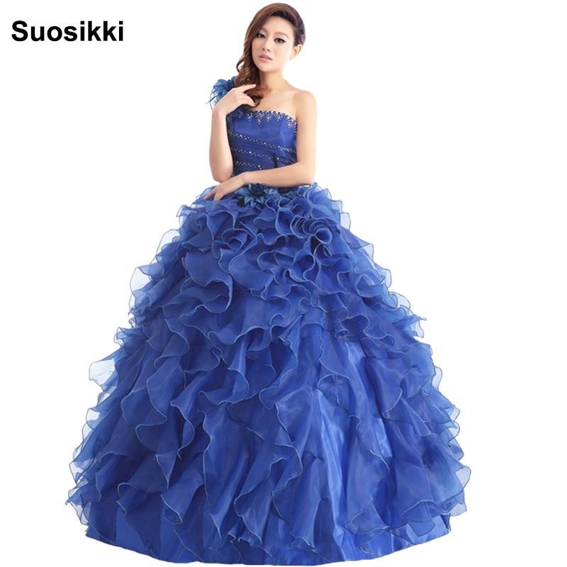 eac5d4d93454 Suosikki Arrivo Vestito Da Sera Ball Gown Una Spalla Ruffle Strass Abito Da  Sera Prom Dresses