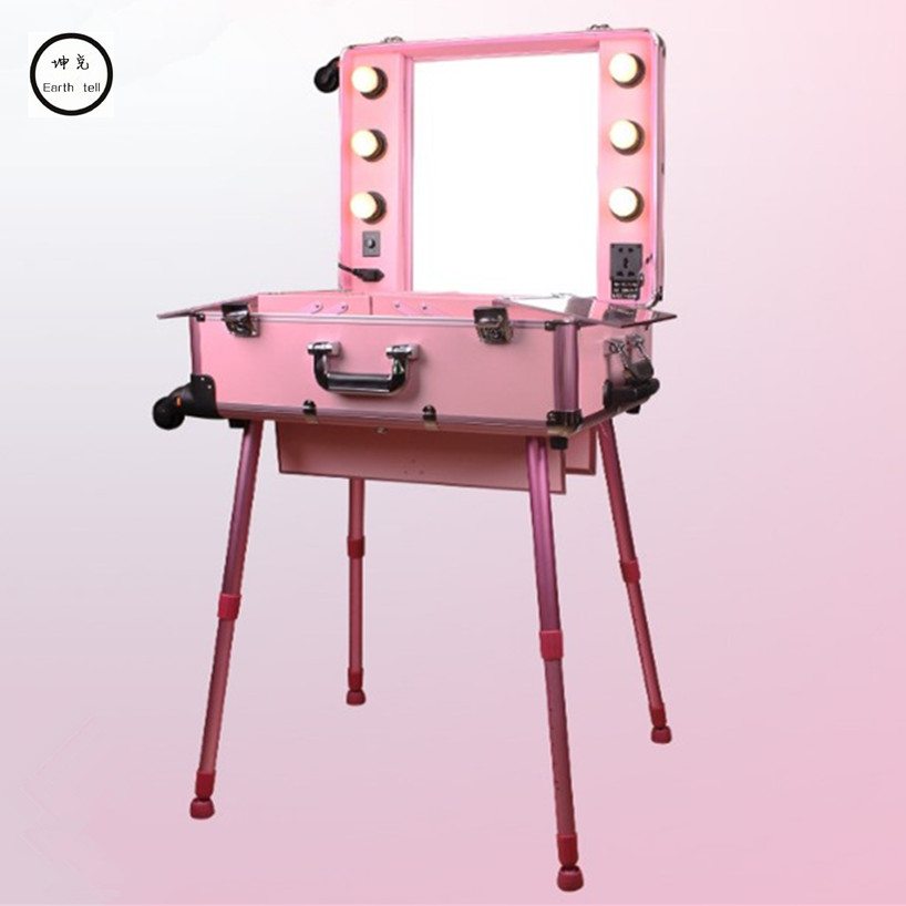 Aluminiumsramme Profesjonell Rolling Studio Makeup Artist Kosmetisk sak Beauty Trolley koffert LED Light Mirror Box Rosa Bagasje