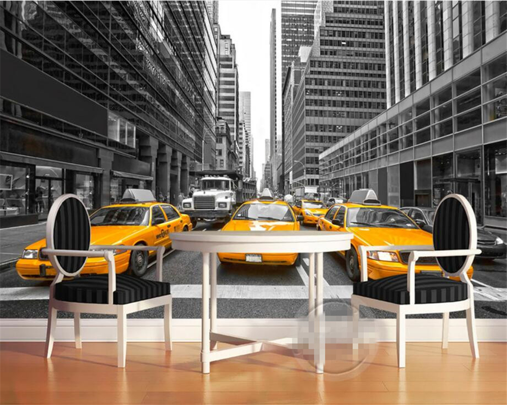 Beibehang Custom mural retro London street yellow taxi background wall wallpaper for walls 3 d papel de parede photo wallpaper custom retro wallpaper retro coffee dessert 3d photo mural for cafe restaurant hotel background wall pvc papel de parede