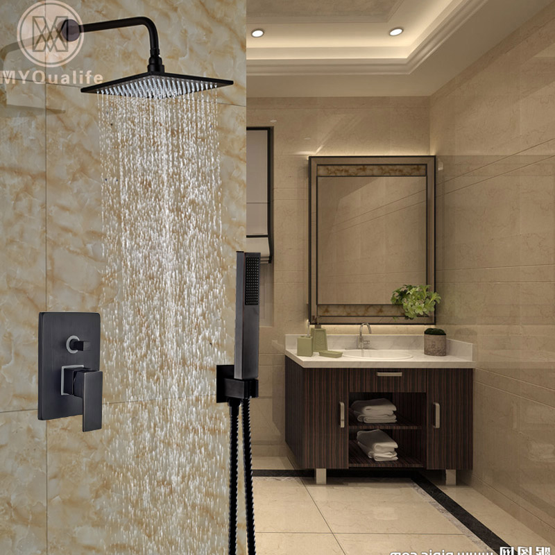 Modern Concealed Install 10 Shower Faucet Set Wall Mount Shower Mixer Tap with Handshower Black Color concealed install shower faucet mixer tap system wall mount bath shower with handshower chrome finish