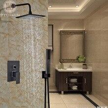 Modern Concealed Install 10″ Shower Faucet Set Wall Mount Shower Mixer Tap with Handshower Black Color