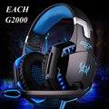 Com o pacote casque gamer each g2000 gaming fones de ouvido estéreo de alta fidelidade com microfone luzes deslumbrar brilho jogo de música fones de ouvido fone de ouvido