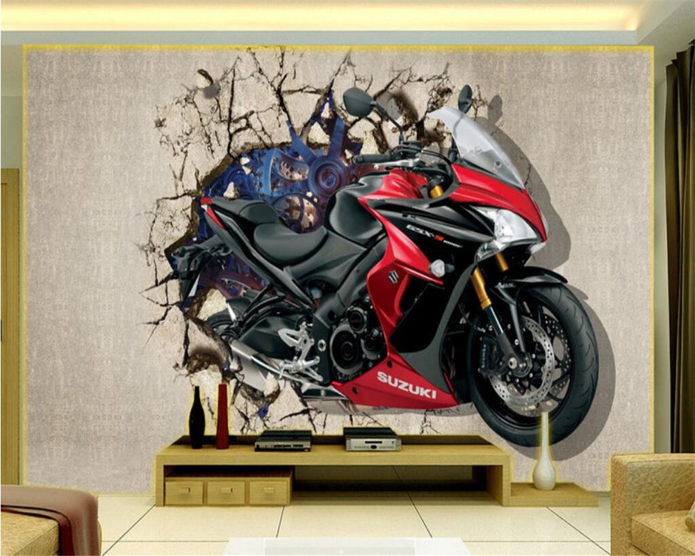 beibehang Home decoration wallpaper motorcycle broken wall into the 3D TV backdrop can be customized murals photo 3d wallpaper beibehang can be scrubbing simple
