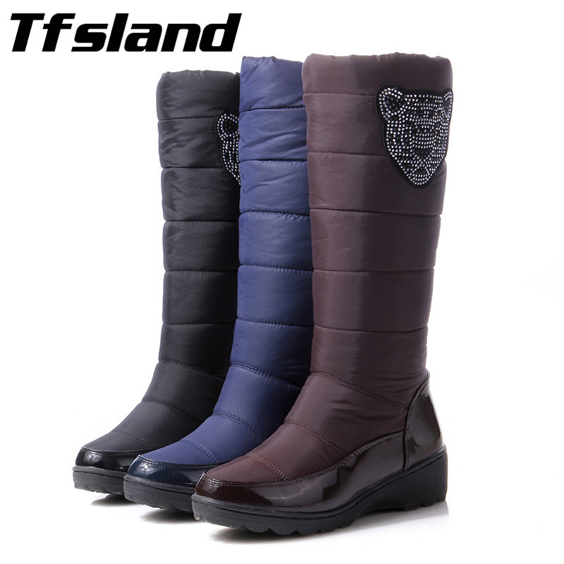 New Women Cotton Waterproof Feather Cloth Thick Wool Warm Snow Boots Winter Wedge Knee High Boots Fur Walking Shoes Sneakers