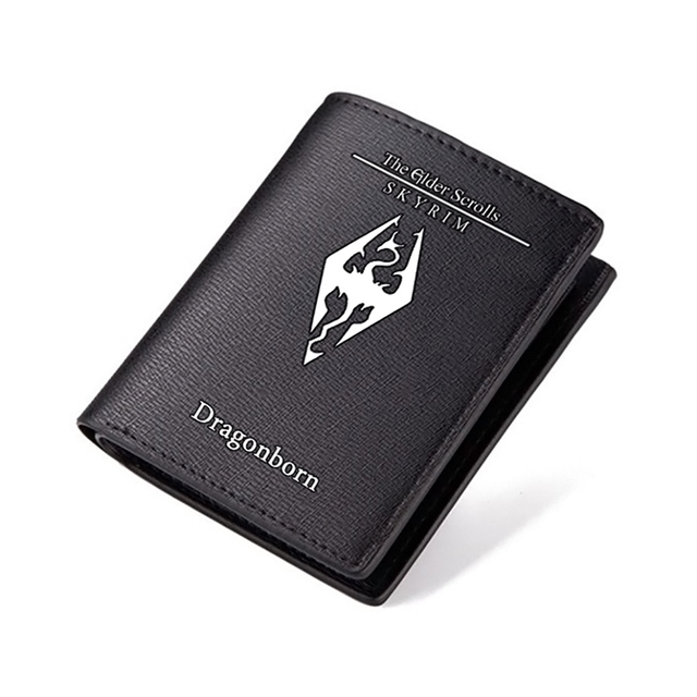The Elder Scrolls Wallet Black PU Short Purse Credit Card Holder Wallets Men Carteira