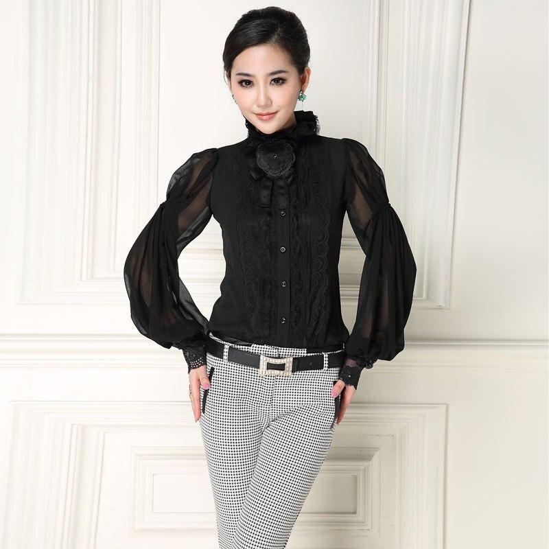 Perfect Plus Size Women Blouses 2017 Long Sleeve Spring Chiffon Blouse Shirt