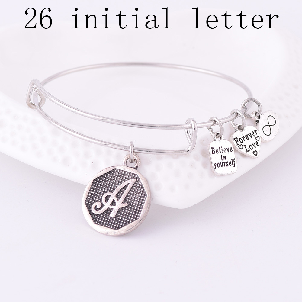 American Expandable Armband Silver Ancient A-Z Initial Letter Alfabet Charm Armband Justerbar Wire Wrap Manschett Bangle Women