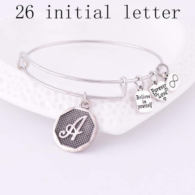 American Expandable Bracelets Silver Ancient A Z Initial Letter Alphabet Charm Bracelet Adjule Wire Wrap Cuff Bangle