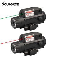 Tactical Red/Green Laser Sight LED Strong Flashlight Black Push Button Switch with Tail for Outdoor Military Hunting Shooting