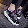 2016 Nuevos Zapatos de Cuero de LA PU de Las Mujeres Ocasionales Respirables Planos Schoenen Cesta de Tenis Feminino Femme Zapatillas Deportivas Mujer