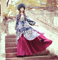 Free Shiping 2017 Fashion Floral Print Women Vintage Long Lantern Sleeve Spring And Autumn A-line Chinese Style Ladies Dresses