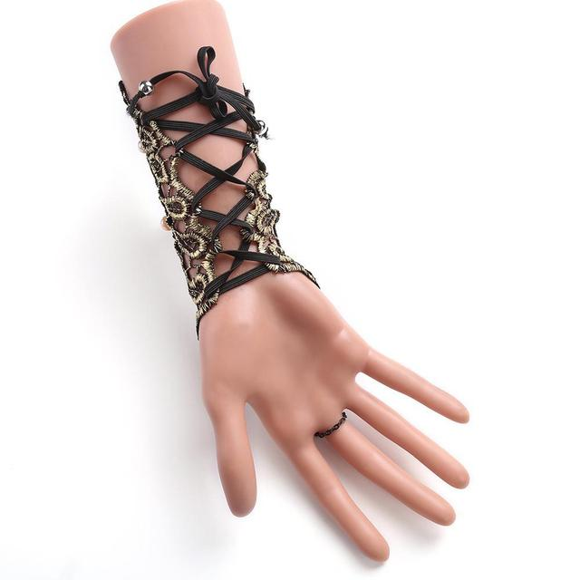 Vintage Gothic Queen Golden Lace Gloves Medieval Victorian Armband Cosplay Accessory Sexy Hollow Out pearl Costumes Accessories 1
