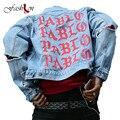 Pablo Denim de Calidad superior Chaquetas de Los Hombres de Hip Hop Marca de Ropa Streetwear Jeans Chaquetas Me Siento Como Washed Ripped Agujeros Masculinos abrigos