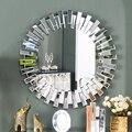 Modern rodada espelho de parede de vidro do console espelho veneziano espelhado arte espelho de parede decorativo