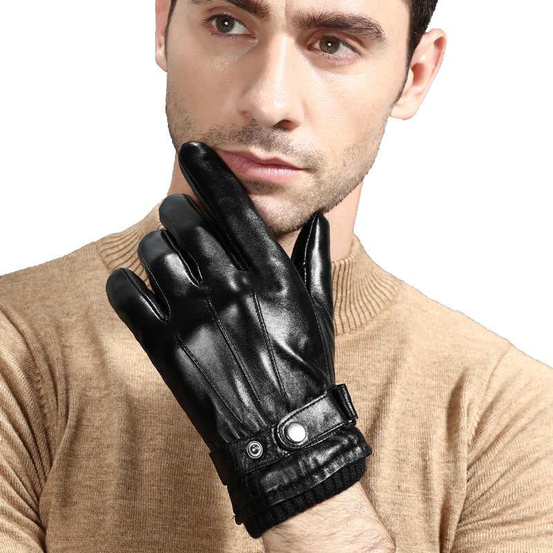 100% couro genuíno homem luvas de condução ao ar livre esporte inverno térmica da motocicleta pele carneiro botão tela toque luvas pretas