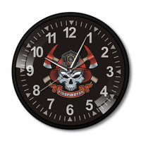 Firefighter Skull with Crossed Axes Black Aluminum Frame Wall Clcok Maltese Cross Firemen Skull Fire Department Decorative Clock