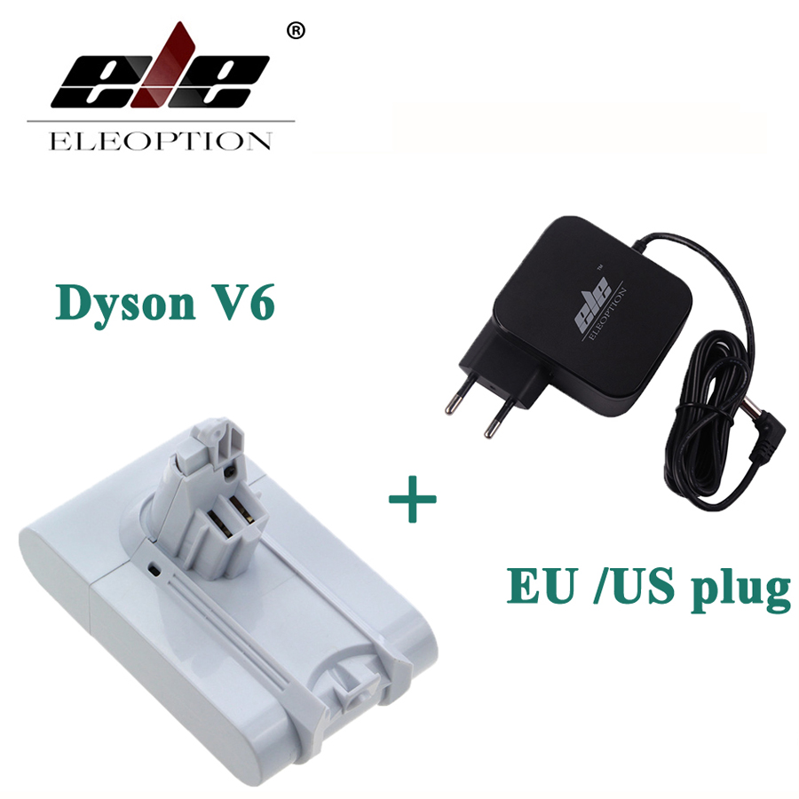 ELEOPTION 21.6V 3000mAh Li-ion Battery For Dyson V6 Mattress Cordless Handheld Vacuum Cleaner For Dyson DC58 DC59 With Charger eleoption 2pcs 18v 3000mah li ion power tools battery for hitachi drill bcl1815 bcl1830 ebm1830 327730