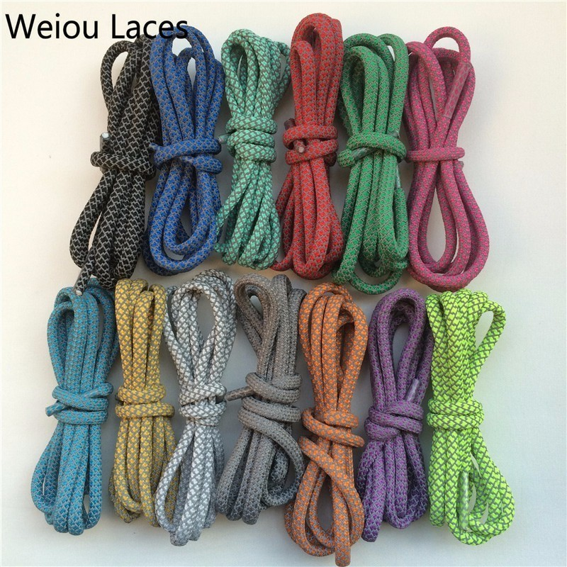 Weiou Round Rope 3M Reflekterende Runner Sko Laces Synlig Sikkerhed Skoetter Custom Shoestrings Bootlaces For Ultra støvler 350 750