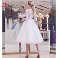 Tea Length Short Wedding Dresses Beach Sheer Crew Neckline Lace 3/4 Sleeves Tulle Informal Bridal gowns Reception Gowns 2017